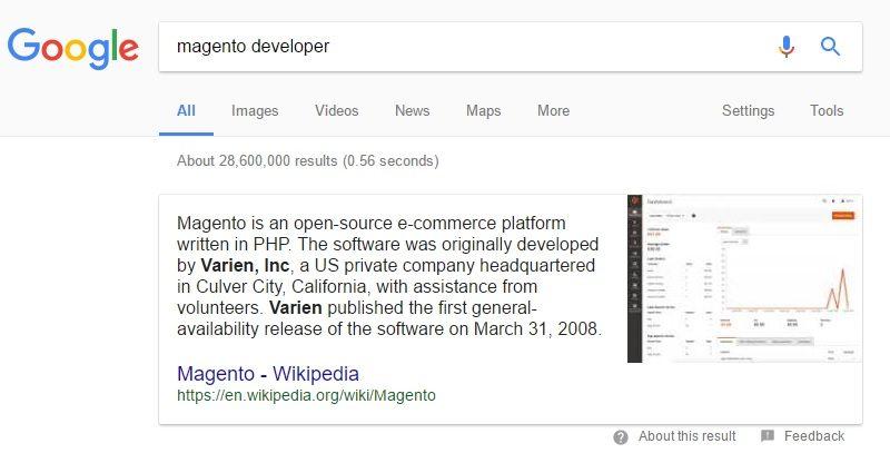 Magento developers SERP