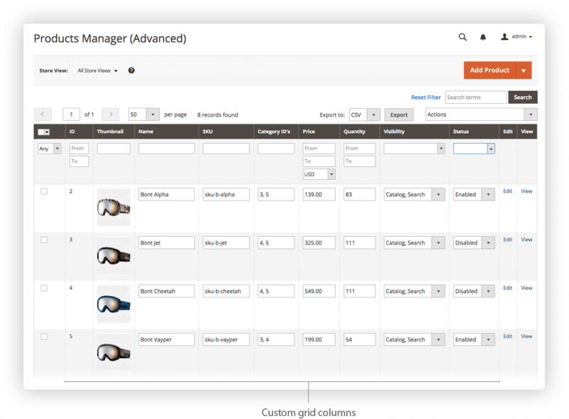 Advanced Admin Products Manager by Iksanika - Image Source: marketplace.magento.com